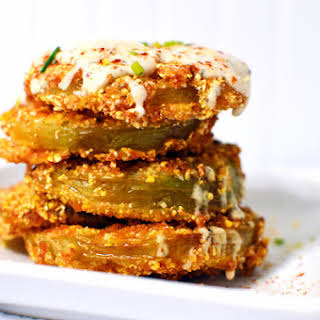 Fried Green Tomatoes with Cajun-Dill Buttermilk Sauce.