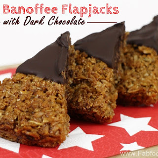 Spelt Banoffee Flapjacks with Dark Chocolate.