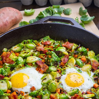 Brussels Sprout Hash With Sweet Potato And Bacon #Recipe