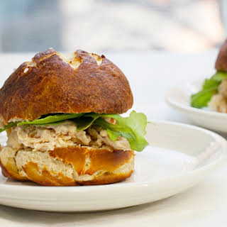 Ranch Chicken Sliders on Pretzel Rolls.