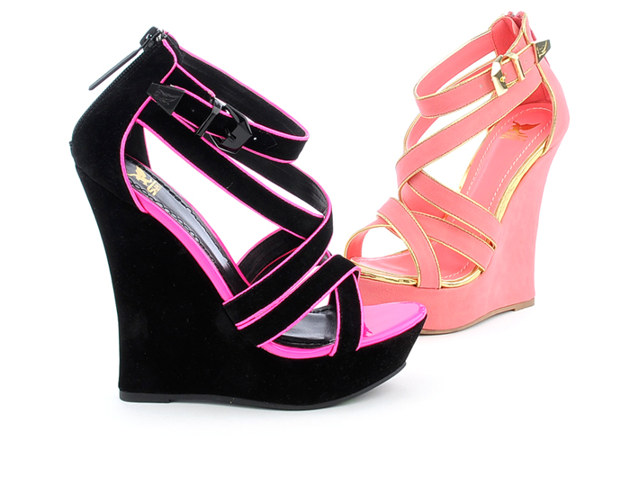 Photo: Strappy wedges in vivid colors are perfect for your spring and summer wardrobe!