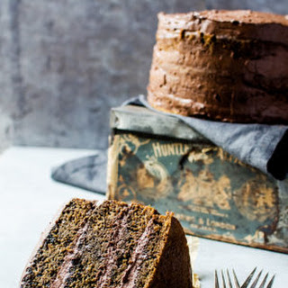 Coffee Flavored Cake with Whipped Mocha Ganache.
