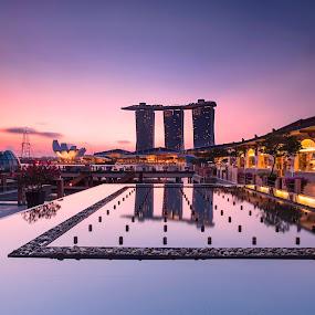 morning glow by Sherry Zhao - Landscapes Travel ( blue hour, morning glory, marina bay sands, sunrise, travel, landscape, singapore, city )