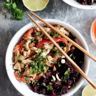 Slow Cooker Thai Peanut Chicken with Sticky Coconut Purple Rice