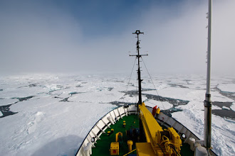 Photo: Ice as far as we could see in every direction on the Greenland Sea. Some of the ice was multi-year ice (very thick) and the density was getting higher than the ship was designed to handle. It had slowed our progress to a crawl and we were often backtracking large distances trying to find a safe passage.