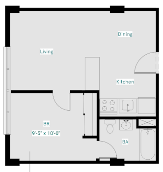 Go to One Bed, One Bath West (Deluxe) Floorplan page.