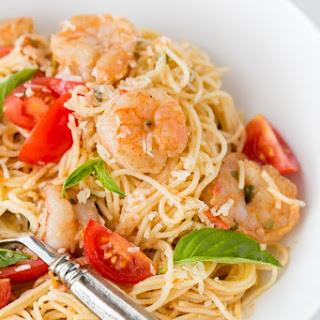 Spaghetti with Shrimp in a Creamy Tomato Sauce.