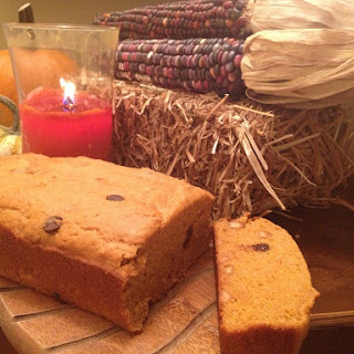 Low Fat Pumpkin Bread with Chocolate and Peanut Butter Chips.