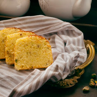 Hot Milk Cake with saffron and Pistachios.