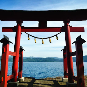 Gosanoishi Torii by Allanah Faherty - Buildings & Architecture Places of Worship ( akita, torii, shrine, japan, lake, shinto )