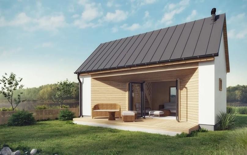 Niewielki domek z przeszkleniami - nowoczesny i funkcjonalny