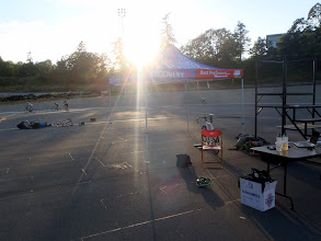 Photo: The sun set as racing continues..thanks to Purica for providing a tent for the officials.
