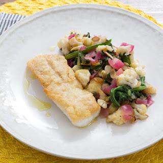 Crispy Cod with Warm Cauliflower & Mustard Green Salad