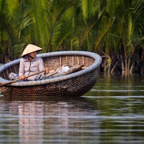 Vietnam Woman by Rebecca Ramaley - People Street & Candids ( hoi an, woman, coconut farm, morning, boat,  )