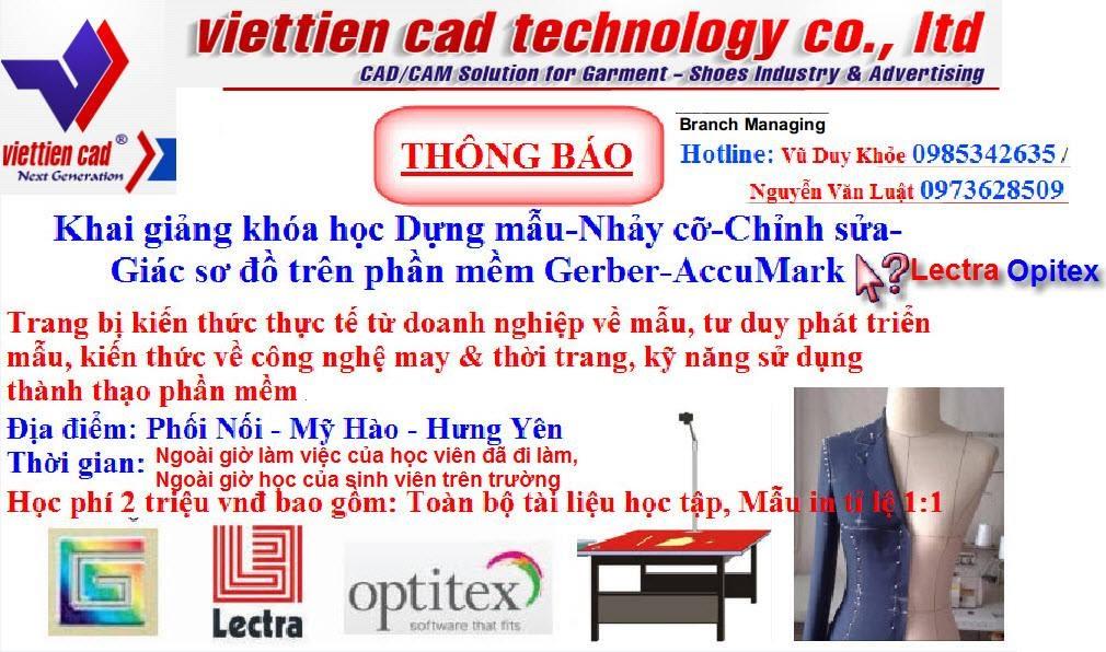 Việt Tiến CAD Miền Bắc Thông Báo Tuyển Sinh 1
