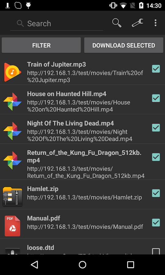 Screenshots of Turbo Download Manager for Android