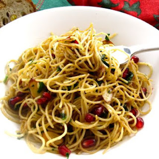 Whole Wheat Angel Hair with Toasted Almonds and Pomegranate