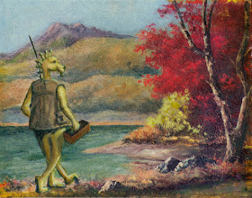 Photo: Gone Fishing. 10x8  Available    I probably should have tried to find an image of the original work but I just faked my way through re-doing the landscape where it was too faded.