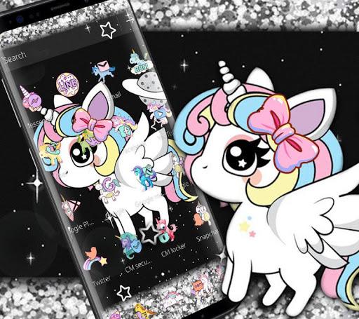 Glitter Galaxy Cute Rainbow Unicorn Theme 1.1.1 screenshots 2