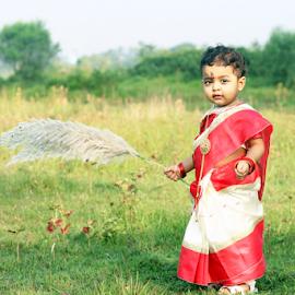 MY LITTLE GODDESS  by Tarunjyoti Tewari - Babies & Children Child Portraits ( love, durga, family, sweet, daughter )