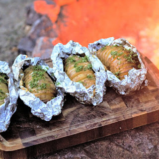 Campfire Cheesy Garlic Potatoes.