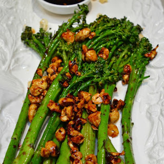 Grilled Broccolini with Sweet Chilli Cashews