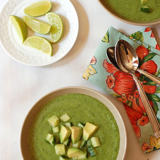 Spinach Avocado Soup with Salsa Verde