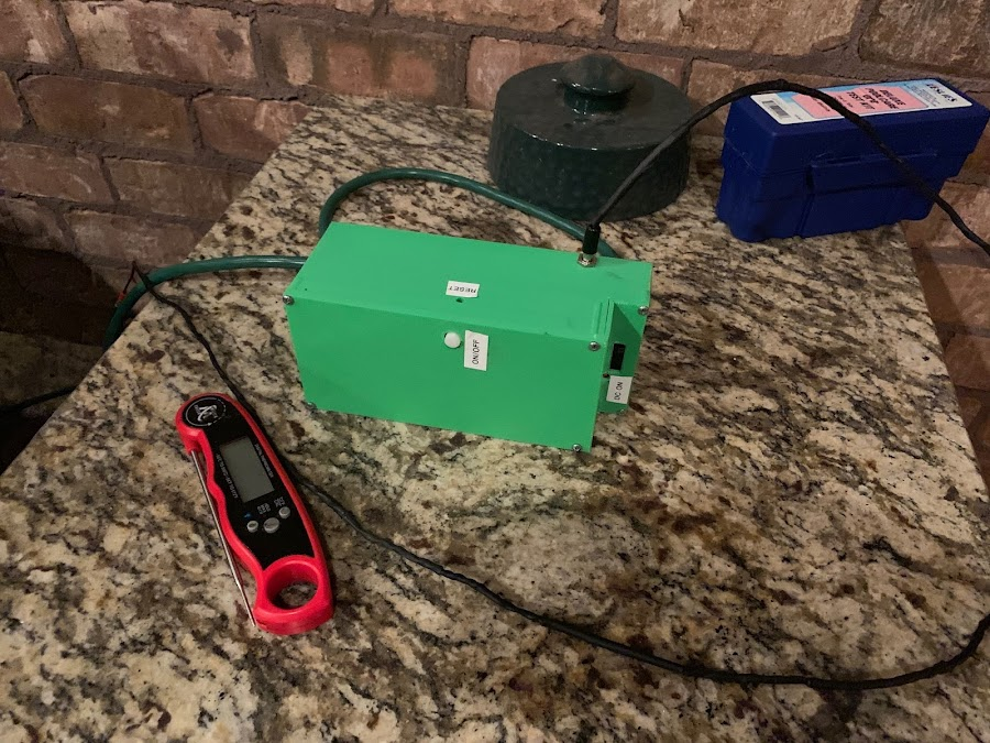 Chuck's remote Green Egg starter box.