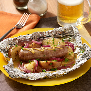 Grilled Beer Brats & Potatoes Foil Packets