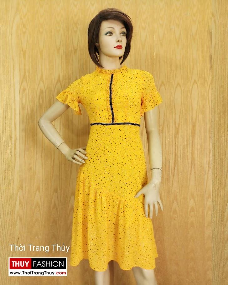 Váy xòe đuôi cá tay loe màu vàng V684 thời trang thủy hà nội