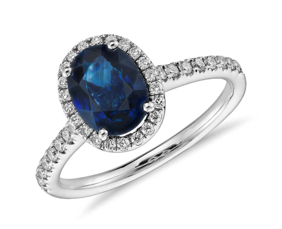 Sapphire and Micropavé Diamond Halo Ring from Blue Nile