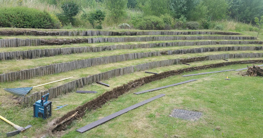 Amphitheater refurbishment in recycled plastic 'timber'- Canklow Woods Primary School