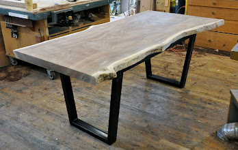 Photo: http://dorsetcustomfurniture.blogspot.com/2014/02/a-small-claro-wlanut-dining-table-and.html