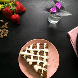 Strawberry Banana Date Breakfast Cake.