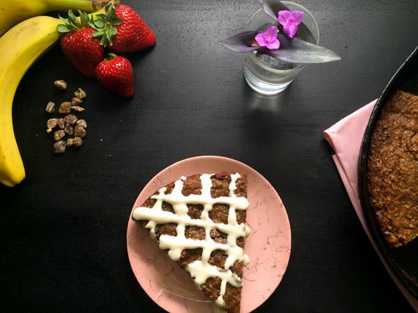 Strawberry Banana Date Breakfast Cake