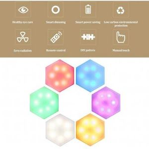 Set 6 lampi hexagon RGB cu telecomanda si senzor tactil