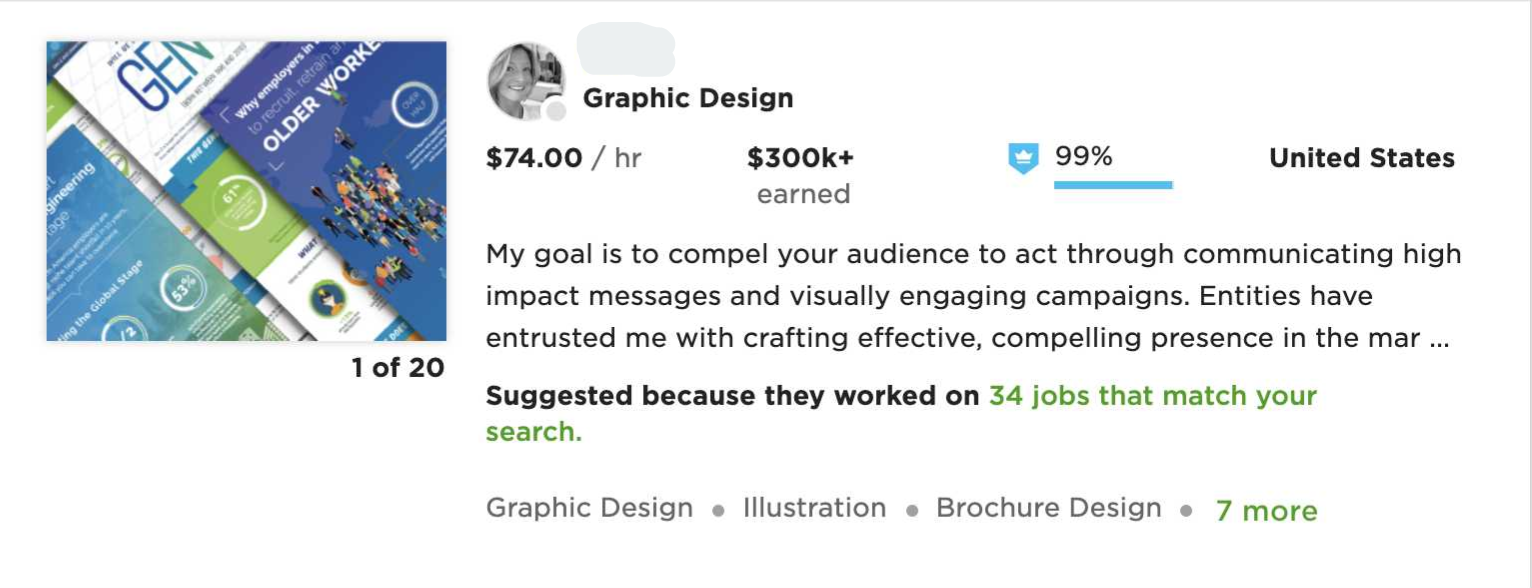 a screenshot of a profile from Upwork