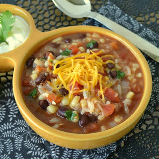 Slow Cooker Mexican Tomato, Rice and Veggie Soup.