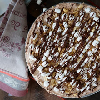 No Bake Rocky Road Cheesecake with Brownie Crust