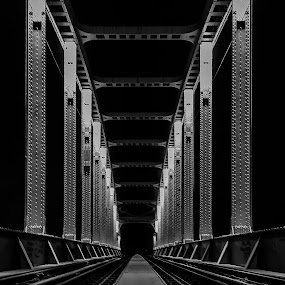 H E N D R I X  III by Iva Marinić - Black & White Buildings & Architecture ( nikon d, night, metal, night time, night lights, bridge, railway, long exposure, night shot, night photography )