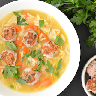 Lemon Orzo Soup with Turkey Mini Meatballs