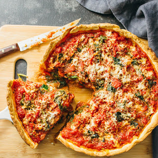 Chicago Deep Dish Pizza With Spinach.