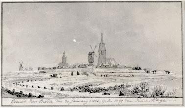Photo: Gezicht van Breda den 30 januarij 1830, op den weg van Princenhage.