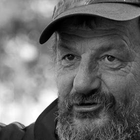 by Ergo Zjeci - People Portraits of Men ( homelessman, b&w, black and white, homeless, old man )