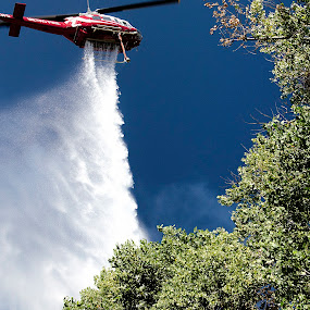 Helo Dump by Kati Garner - News & Events US Events ( water, helicopter, grass fire, fire fighter helicopter, fire fighter )