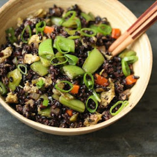 Black Fried Rice with Snap Peas and Scallions.