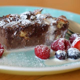 Dark Chocolate Bread Pudding with Vanilla Ice Cream