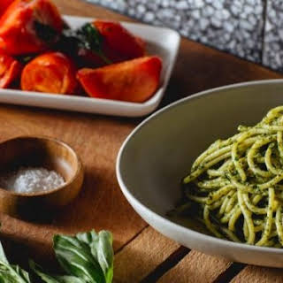 Sicilian Pesto Pasta With A Warm Tomato Salad.