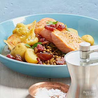 Salmon with Lentil Hash and Bacon.
