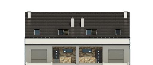 Mazurek z garażem 1-st. bliźniak A-BL2 - Elewacja przednia